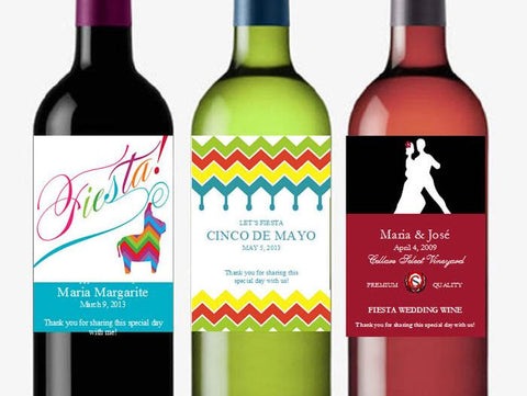 Birthday Mexican Fiesta Wine Bottle Labels Stickers