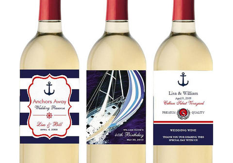 Nautical Sailing Boat Birthday Party Wedding Wine Bottle Labels Stickers