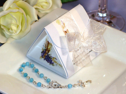 Communion Confirmation Origami Favor Boxes with Mini Rosary