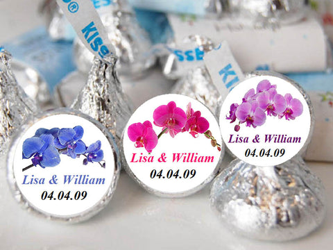 Orchid Tropical Hershey's Chocolate Candy Kisses Labels Stickers
