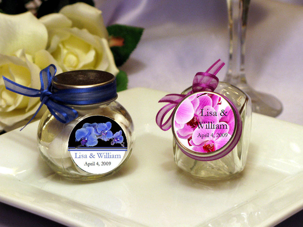 Orchid Tropical Vintage Mini Glass Candy Spice Jars Pavia Party Favors