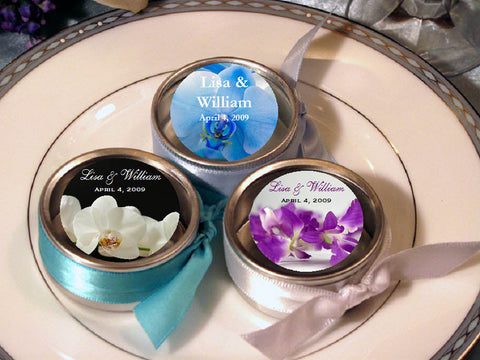 Orchid Tropical Round Metal Clear Top Candy Favor Tins