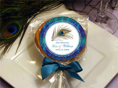 Peacock Wedding Cookie Pop Favors