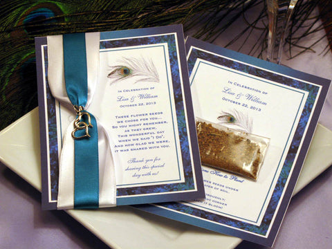 Peacock Feathers Wedding Seed Packet Favors