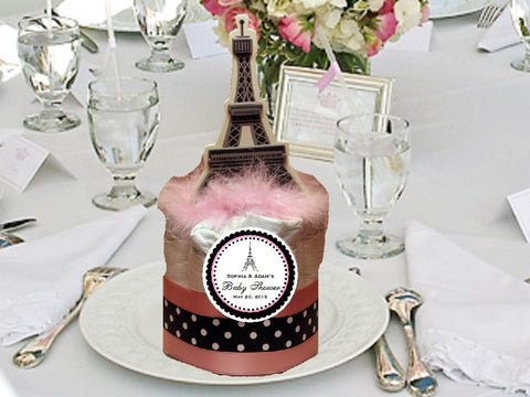 Paris French Eiffel Tower Pretty as a Poodle Mini Diaper Cakes