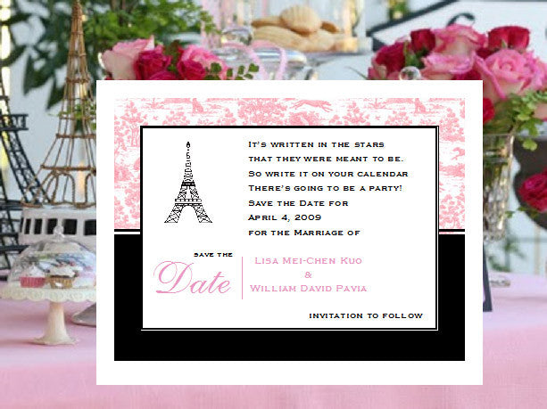 Paris French Eiffel Save the Date Poem Cards Notes Pavia Party – Save the Date Poems for Weddings