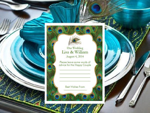 Peacock Marriage Baby Bridal Advice Wish Cards