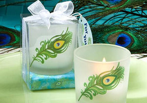 Peacock Feather Wedding Boxed Candle with Glass Holder - only 3 left