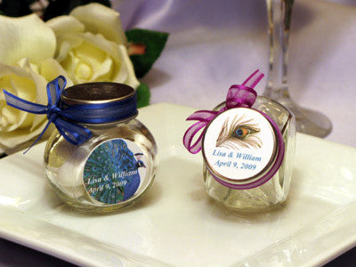 peacock feather wedding mini glass candy jar favors pavia party favors