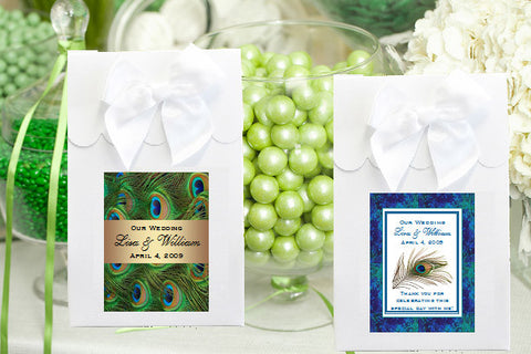 Peacock Wedding Candy Shoppe Favor Boxes Bags