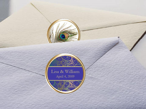 Peacock Wedding Envelope Seals Labels Stickers