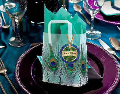 Peacock Wedding Frosted Favor Bags Totes