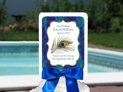 Peacock Wedding Favor Hand Fans with Borders