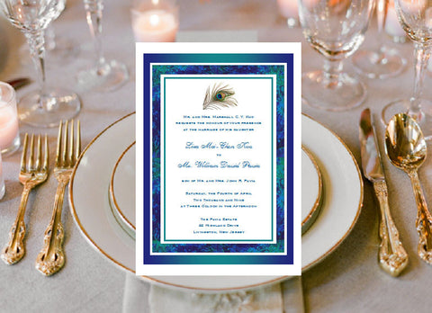 Peacock Wedding Bridal Baby Birthday Invitations
