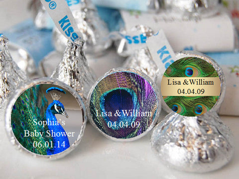 Peacock Wedding Hershey's Kisses Labels Stickers