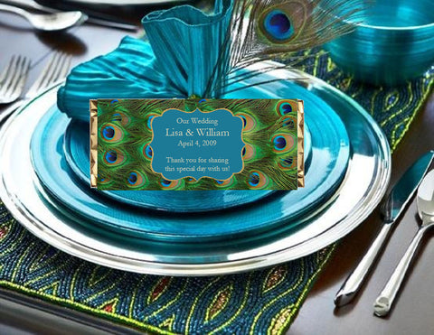 Peacock Wedding Large Candy Wrapper Favors