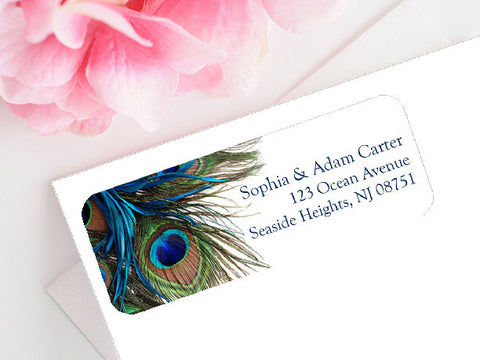 Peacock Wedding Mailing Labels Stickers