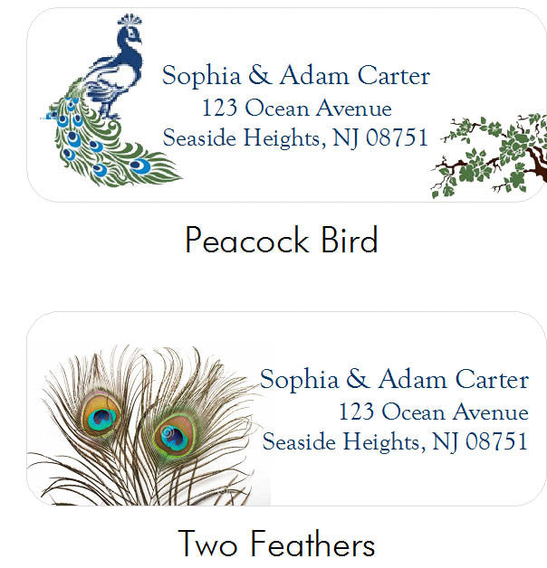 Peacock Wedding Address Labels Stickers