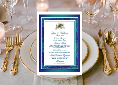 Peacock Wedding Menu Cards