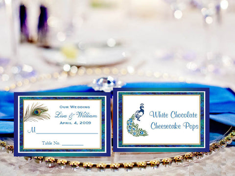 Peacock Wedding Escort Buffet Place Cards