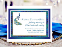 Peacock Wedding Reception or Response Cards Notes