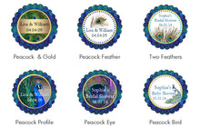 Peacock Wedding Round Favor Labels Stickers