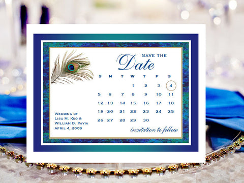 Peacock Wedding Save the Date Cards Notes