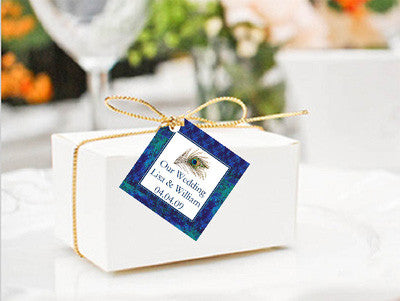 Peacock Wedding Square Favor Gift Tags