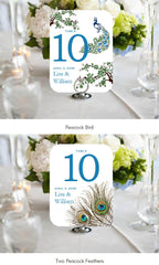 Peacock Vintage Wedding Table Number Cards