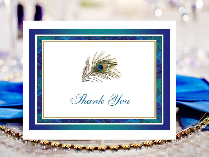 Peacock Wedding Thank You Cards Notes