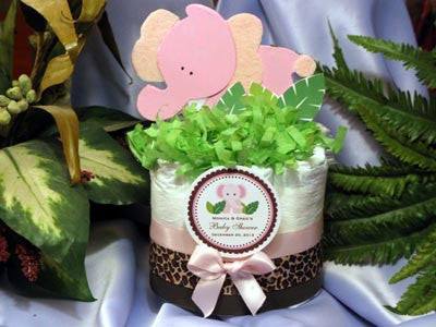 Pink Elephant Jungle Safari Baby Shower 2 Tiered Diaper Cake Centerpiece