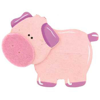 Pink Pig Piggy Piglet Farm Animals Painted Wood Diaper Cake Topper