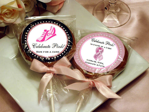 Think Celebrate Wear Pink Ribbon Cookie Pop Favors