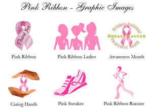 Think Wear Celebrate Pink Ribbon Cupcake Toppers Decorations