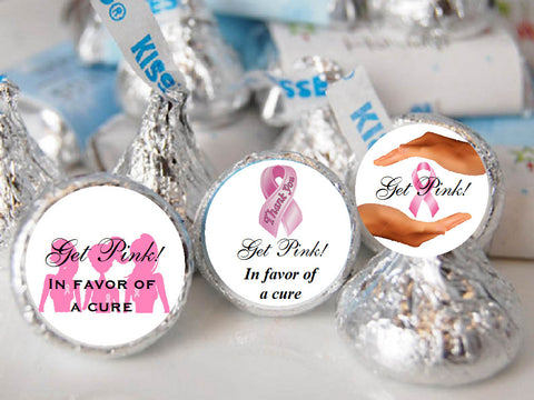 Think Celebrate Wear Pink Ribbon Hershey's Kisses Labels Stickers