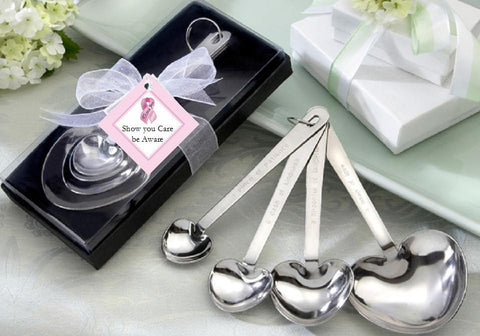 Think Celebrate Wear Pink Ribbon Heart Shaped Measuring Spoons Favors