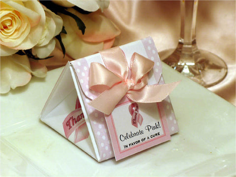 Think Celebrate Wear Pink Ribbon DIY Origami Favor Boxes