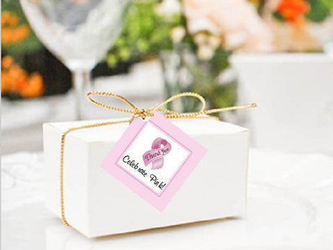 Think Celebrate Wear Pink Ribbon Square Favor Gift Tags