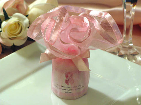 Think Celebrate Wear Pink Ribbon Wavy Tulle Candle Favor