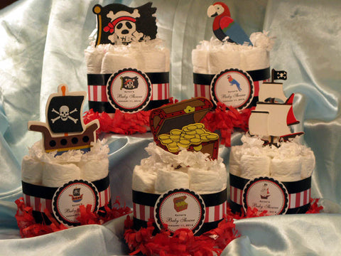 Baby Shower Pirate Ship Flag Diaper Cake Centerpiece
