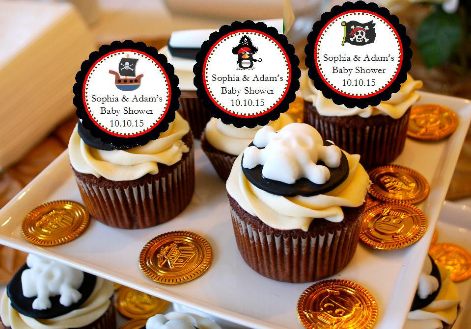 Pirate Baby Shower Birthday Party Cupcake Toppers Pavia Party Favors