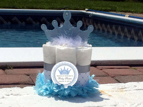 Baby Shower Little Blue Prince Diaper Cake Centerpiece