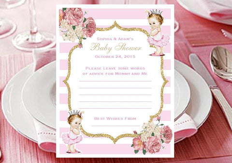 Princess Little Pink Gold Baby Shower Advice Wish Cards