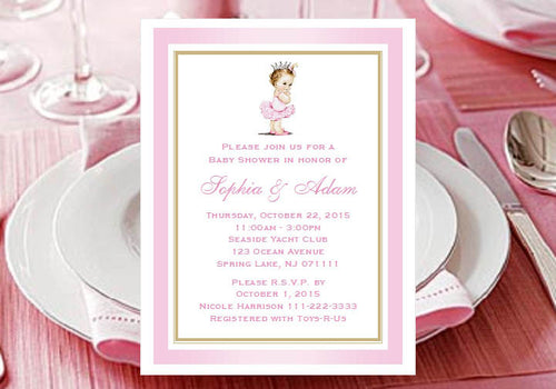Princess Baby Little Pink Gold Baby Shower Invitations Announcements