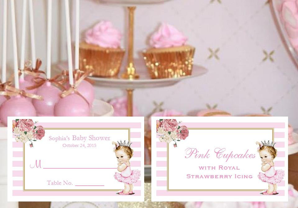 Princess Little Pink Gold Baby Shower Place Cards – Pavia Party Favors