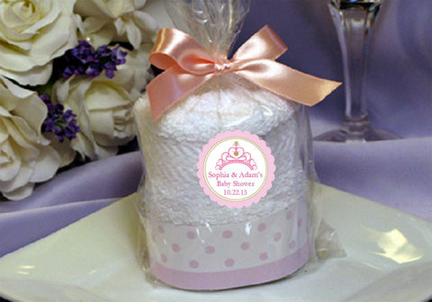 Princess Baby Little Pink Gold Baby Shower Towel Cake Favors