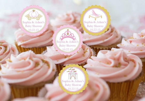 Princess Baby Little Pink Gold Baby Shower Cupcake Toppers
