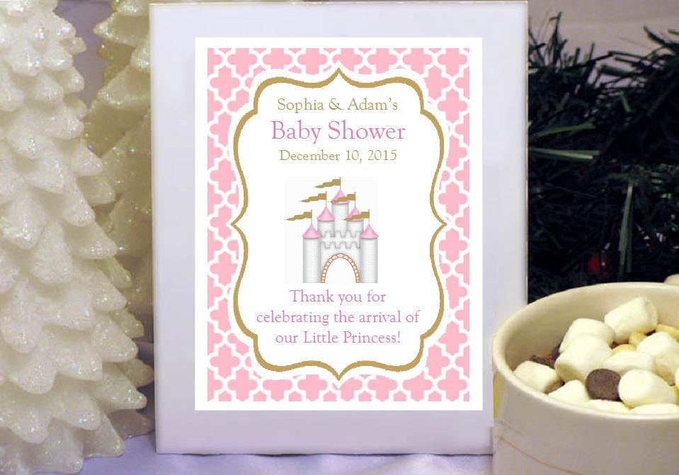 Baby Shower Favors Hot Chocolate princess baby little pink gold baby shower hot chocolate cocoa
