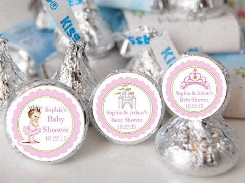 Princess Baby Little Pink Gold Baby Show Kisses Labels Stickers