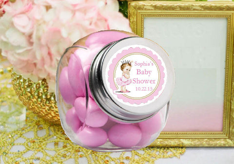 Princess Little Pink Gold Baby Shower Mini Glass Jars
